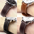 18mm 20mm 22mm Genuine Leather Watch Band Strap Manual Men Thick Brown Black Watchbands Stainless Steel Buckle Accessories