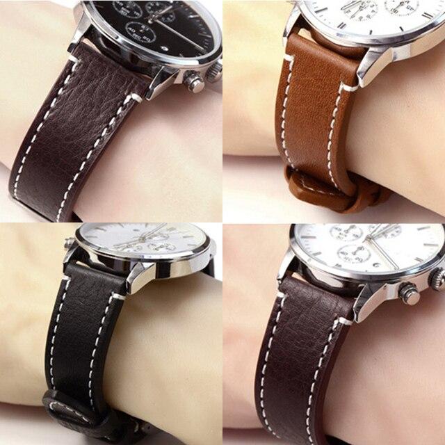 18mm 20mm 22mm de Cuero Genuino Reloj de Correa de La Banda Manual de Los Hombres Gruesa Marrón Negro correas de Reloj Hebilla De Acero Inoxidable accesorios