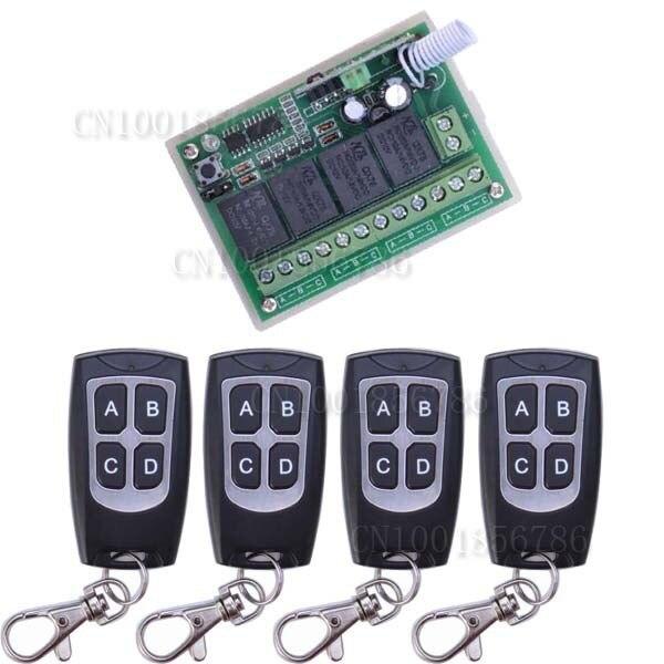 4 채널 dc 12 v 4ch rf 무선 원격 제어 스위치 시스템 315 mhz 433 mhz 송신기 및 수신기
