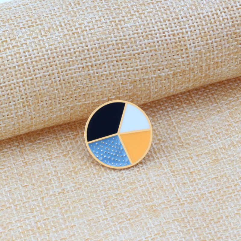 4 Gaya Fashion Perhiasan Kartun Lingkaran Putaran Logam Bros Enamel Pin Bros kerah Tas Amplop Dekorasi Pin Tombol Badge