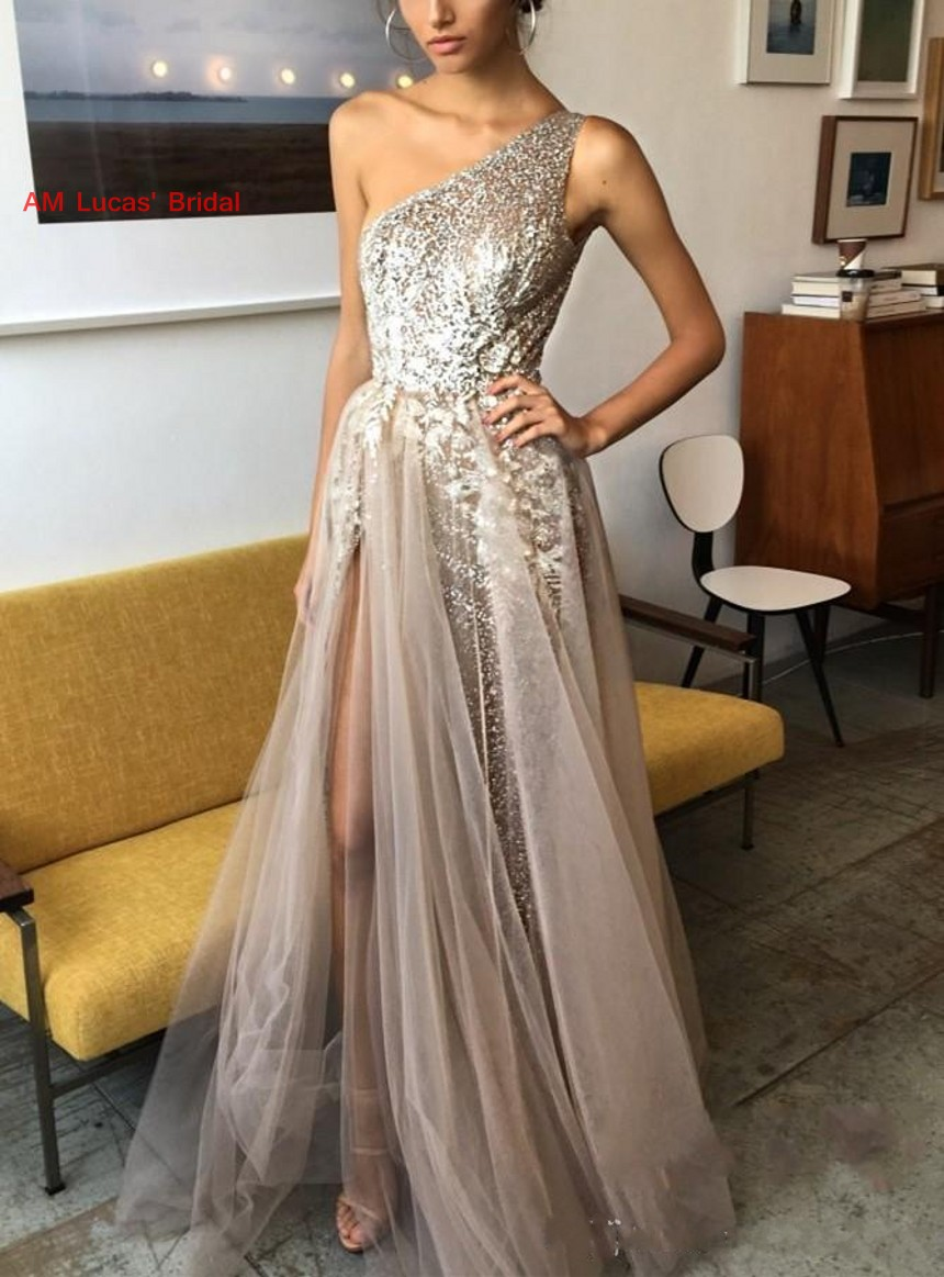 Sexy   Evening     Dresses   Split Side 2019 New Women Formal Gown For Prom Wedding Party   Dresses   Robe De Soiree