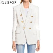 Blazer woman spring Autumn 2019 New  white Tassel Double Breasted long blazer women Shawl Collar Office Lady feminina
