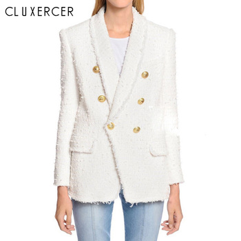 Blazer woman spring Autumn 2019 New  white Tassel Double Breasted long blazer women Shawl Collar Office Lady blazer feminina za women double breasted check blazer long sleeve lapel collar blazer front flap pockets double breasted front button fastening