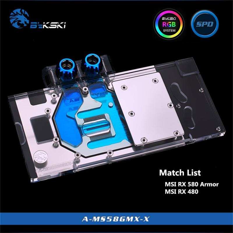 Bykski Full Coverage GPU Water Block For MSI RX580/480 Gaming X8G/8G/4G Graphics Card A-MS58GMX-X bykski full coverage gpu water block for msi rx580 480 gaming x8g 8g 4g graphics card a ms58gmx x