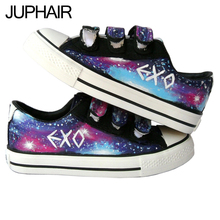 JUP Hand Painted Flat Canvas Shoes for Women Children Boy Girl Hook & Loop Stars Sky Effect Cartoon Cat Fish Dog Lovers Footwear