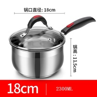 2L Sauce Pan Cooking Pan Multi bottomed SUS#18 Milk pan Small Soup Pan Cooker Induction Cooker Saucepan Cookware
