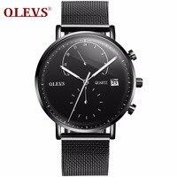 OLEVS Multifunction Business Watches Men Mesh Steel Strap Male Clock Watch Auto Date Man S Student