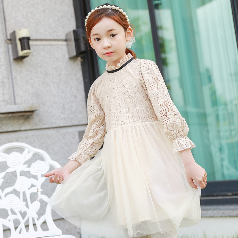 Girl Evening Dress Autumn Kids Lace Mesh Princess Dresses Baby Girls Dress For Party Wedding 2-14Y Costume Children Clothes girls dress 2017 new summer flower kids party dresses for wedding children s princess girl evening prom toddler beading clothes