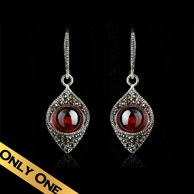 Special Drop Earrings 925 Silver Natural Garnet Classic Vintage Foreign Design Free Shipping Jewelry EH13A05212