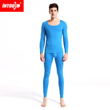 2014New Intouch men's thermal underwear male seamless invisible thick plush o-neck long johns long johns set 5 colors M L XL XXL