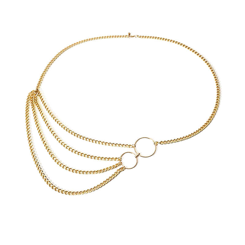 Women Multilayer Waist Belt Chain Bikini Beach Body Jewelry Harness Belly Chains For Waistbands
