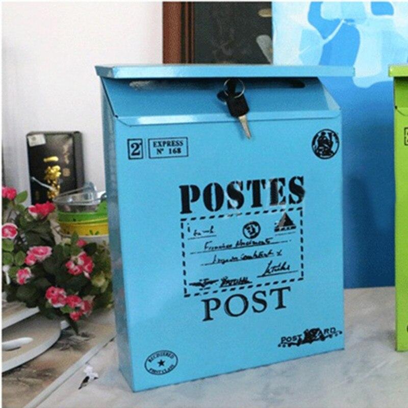 4 Colors Vintage Metal Mail Box Case Metal Tin Newspaper Letter Mailbox Waterproof Post Box Lockable Box Garden Ornament