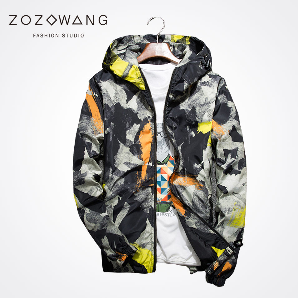 Zozowang new spring autumn plus size casual short jacket men high quality  print camouflage zipper hooded coat