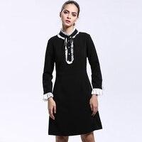 Black Brief Dress 2016 Autumn Winter Fashion 3 4 Sleeve Women Brand Top Grade Turtleneck Elegant