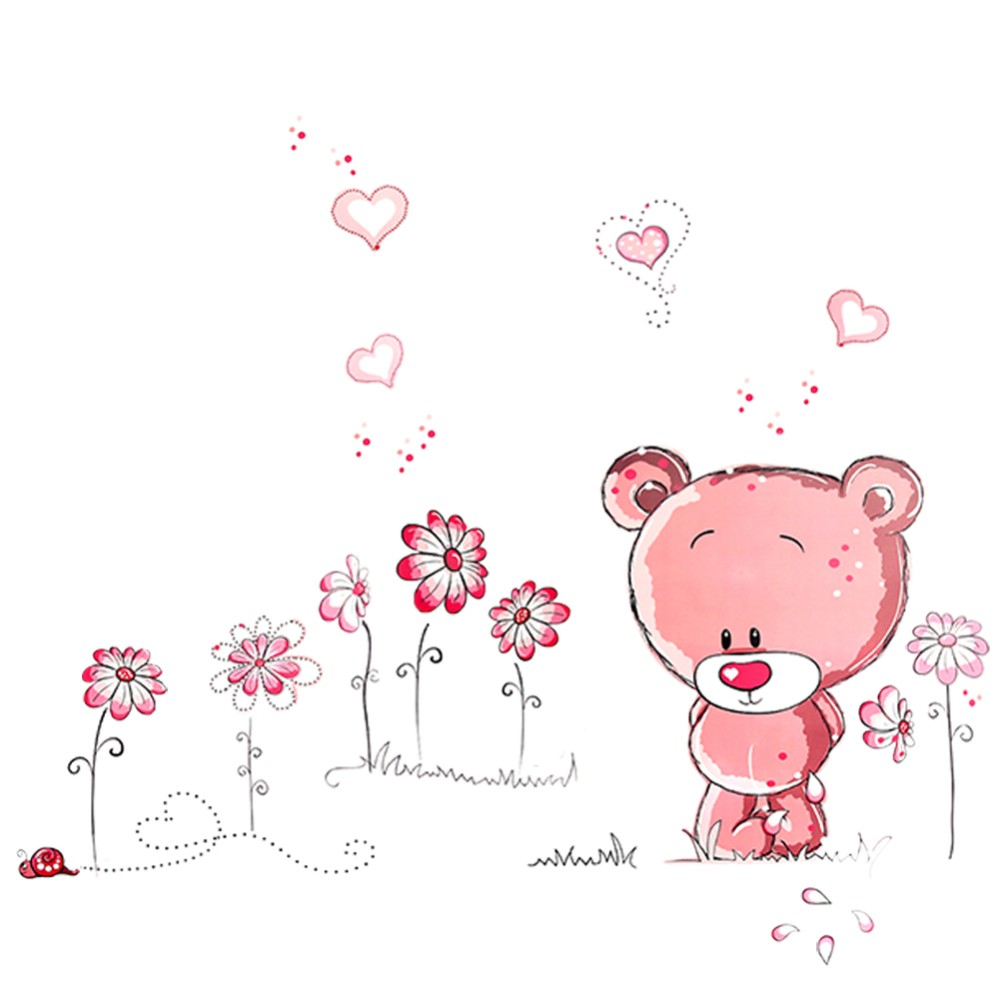 New qualified Cute Lovely Pink Bear Nursery Girl Baby Kids Children Art Decal Wall Sticker Bedroom wall stickers home decor