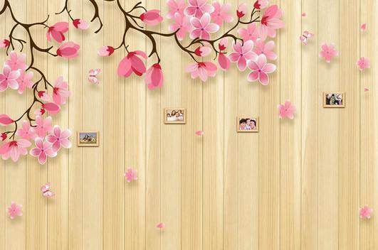 Etiqueta de la pared de madera de cerezo papel pintado for Papel de pared madera