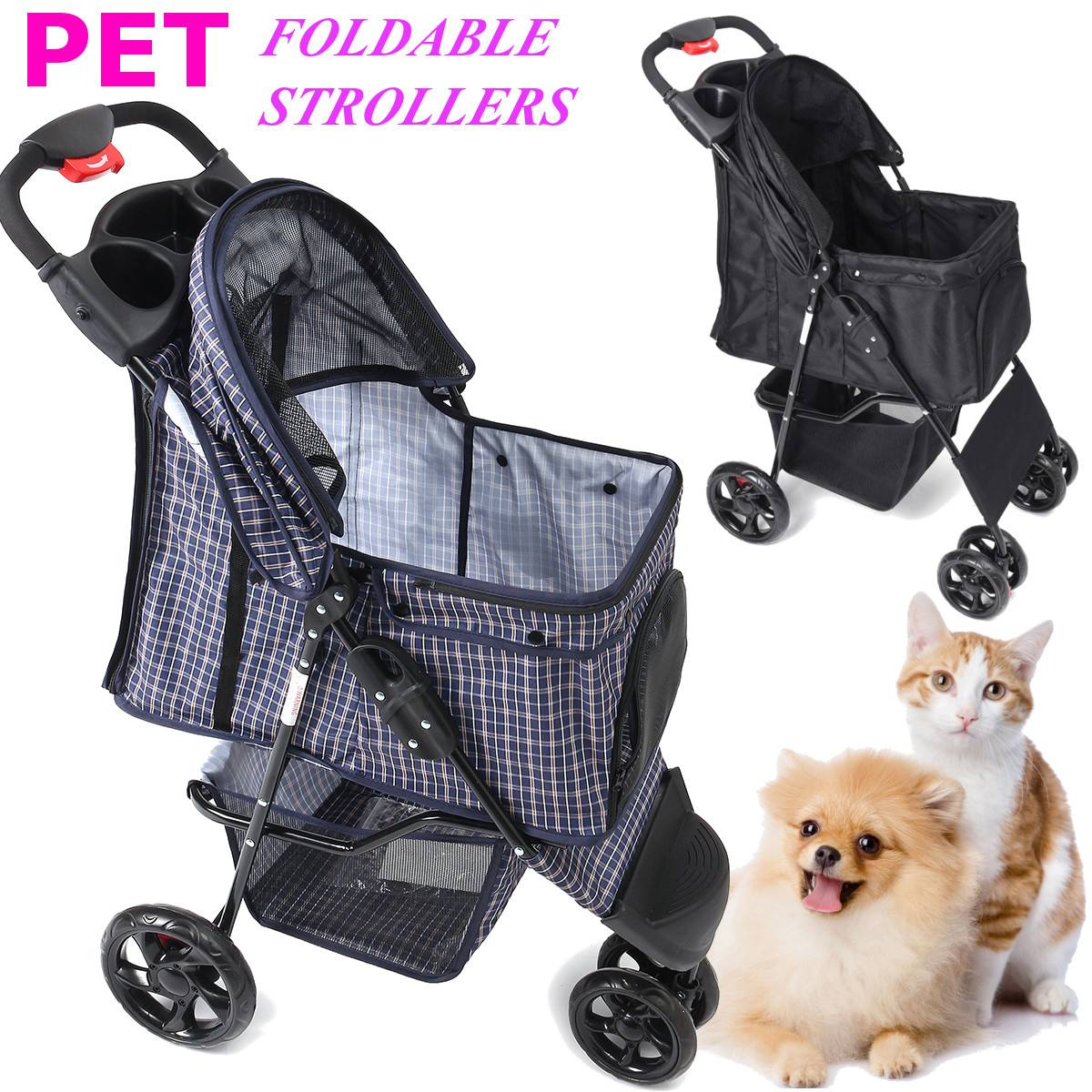 2 Colors Foldable Pet Stroller Dog Cat Puppy Sitting Lying Pushchair Stroller Cart Outdoor Lightweight Travel Carrier Pram