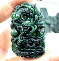51*33MM  Wholesale natural Chinese jade hand-carved statue of A dragon amulet pendant necklace M11
