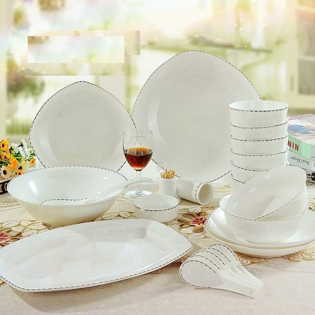 free shipping square 56pcs dinnerware set china porcelain tableware rice bowl set high quality plates dishes & free shipping square 56pcs dinnerware set china porcelain tableware ...