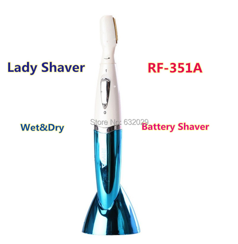 Lady shaver Shaving hair Epilator wet dry Battery Shaver Eyebrow trimmer long Short trimming comb titanium head Riwa RF-351A