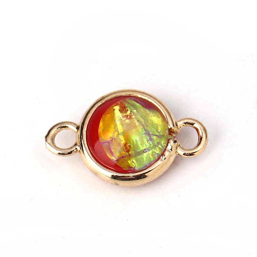 DoreenBeads cobre y resina AB Color arcoíris Aurora Boreal conectores redondo dorado claro Skyblue 16x10mm-15x9mm, 5 uds