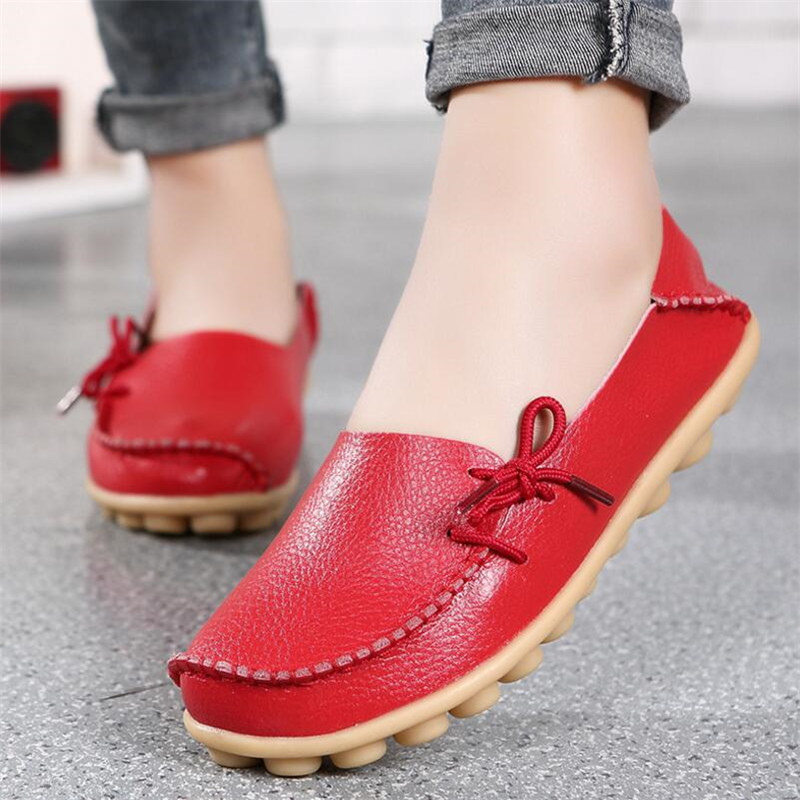 New leather mother shoes low to help flat beanie women 39 s single shoes large size tie casual comfortable flat shoes in Women 39 s Flats from Shoes