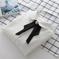 White Chiffon Shirts Office Lady Tops Women Formal Work Blouses Long Sleeve Female Clothing With Bow
