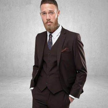 Elegant Brown Men Suit Formal Blazer Custom Made Size Mens Prom Wedding Suits Groom Tuxedo Jacket Pants Vest 3Pcs