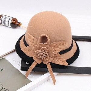 Image 5 - Fibonacci 2018 New Autumn Winter Female Fedoras Lmitation Wool Felt Women Hats Fashion Bucket Floral Fedora Hat