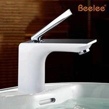 Бесплатная доставка ванной кран на гриле белой краской хромированная отделка латунь раковина кран одной ручкой BL8371