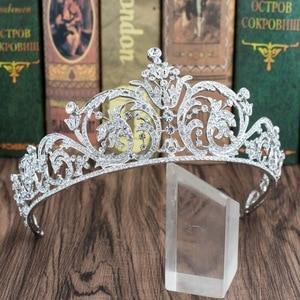 Image 3 - Classic Rhinestone Crystal 2/3 Round Wedding Bridal Tiara Crown Diadem Women Hair Accessories Jewelry XBY158L