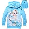Crianças dos desenhos animados jaquetas para meninas 2015 outono de manga comprida Hoodies princesa Elsa Olaf camisola para crianças de natal