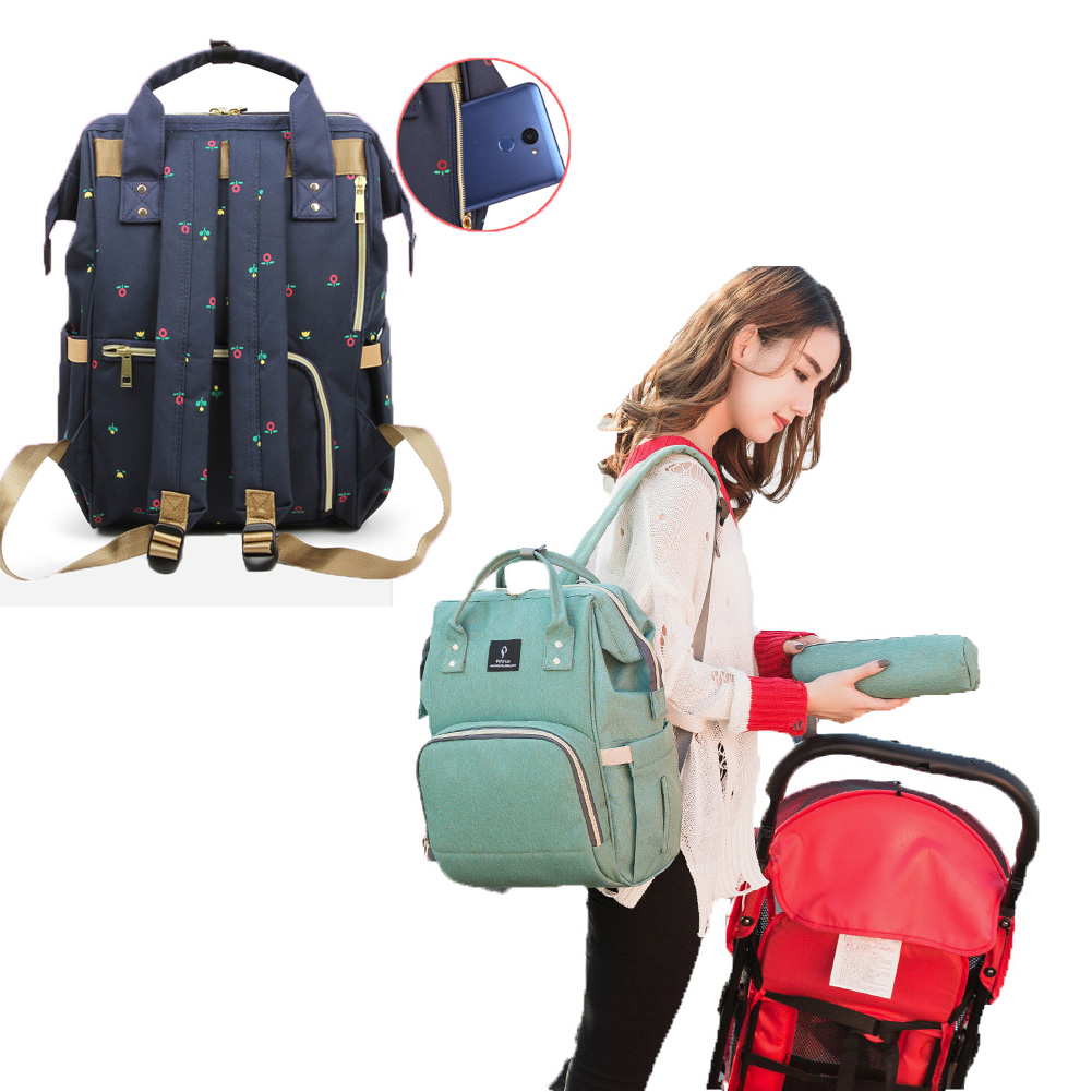 New Large Capacity Maternity Backpack Women Travel Diaper Bag with USB Fashion Waterproof Nappy Nursing Bag Kits Mummy Baby Care
