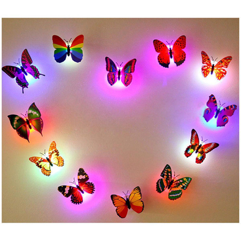 10 Pcs Stickers Butterfly LED Lights Wall Stickers 3D House Decoration for Kids Rooms Wall Decoration Adesivo De Parede 51#