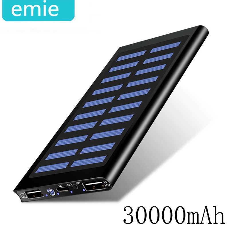 الشمسية 30000mah قوة البنك بطارية خارجية 2 USB LED تجدد Powerbank المحمولة الهاتف المحمول الشمسية شاحن هواتف xiaomi mi iphone سامسونج