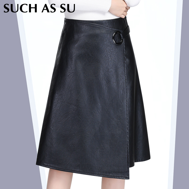Stitching Asymmetrical Leather Skirt Women s Black High Waist Ring Buckle 2016 Autumn Winter Knee Length