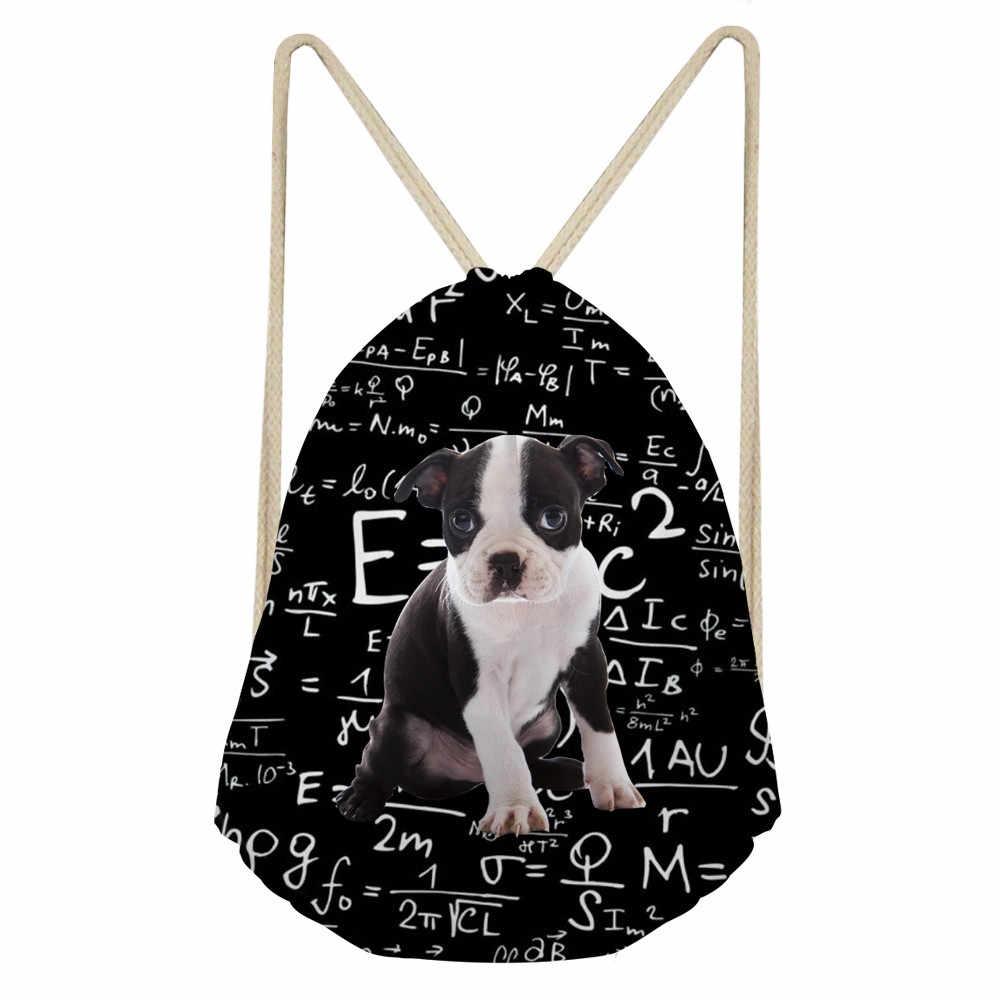 Anjing Lucu Boston Terrier I Love Math Mencetak Gadis Tas Serut Kasual Siswa Sekolah Ransel Softback Penyimpanan Bagsumka