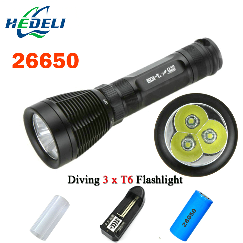 dive 100M waterproof light lanterna scuba dive flashlight 3 XML T6 Underwater flashlight Diving torch flash light 18650 OR 26650 4500lm 4cree xml t6 led lanttern waterproof underwater scuba dive diving flashlight torch light lamp for diving by 26650 battery