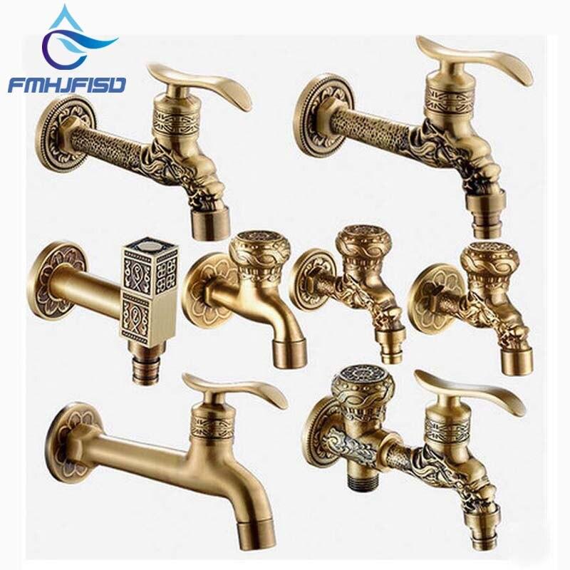 все цены на Luxury Antique Brass Decorative Outdoor Faucet Garden Bibcock Tap Bathroom Washing Machine /mop Faucet