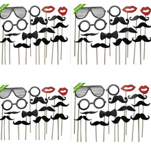15pcs/set Photo Booth Props Mask red lip black mustache paper Card For Wedding Birthday Party Decoration gift Wholesale