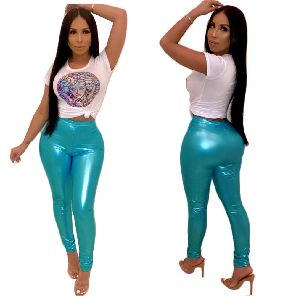 Streetwear 2019 Blue Crop Moulant Imprimer Costume Pièces Sport Ensembles Top Femmes Pantalon Survêtement Deux Tenues Courtes Manches dBCQorxeW
