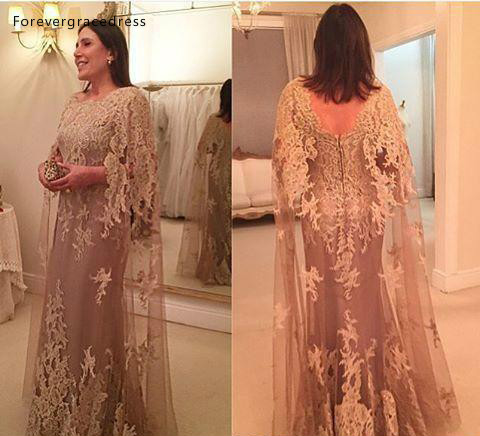 Vintage Champagne Mother Of The Bride Dresses 2019 Lace With Wrap Formal Groom Godmother Evening Wedding Party Guests Gowns