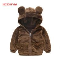 Boys Girls Cartoon Fleece Jackets 2019 Spring Cute Bear Ear Furry Tops Coat Toddler Thick Hooded Winter Sweaters Kids Sweatshirt