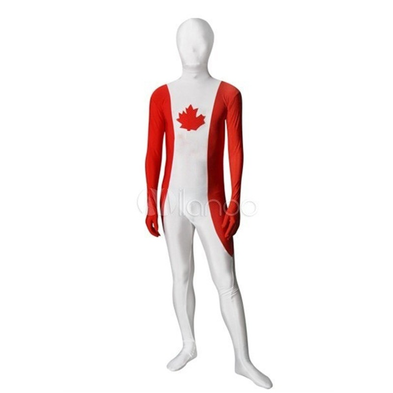 Childrens/Adult Mens Halloween Party Personality Canada Flag Costumes Unisex Spandex Zentai Lycra Multicolor  Costume Bodysuit