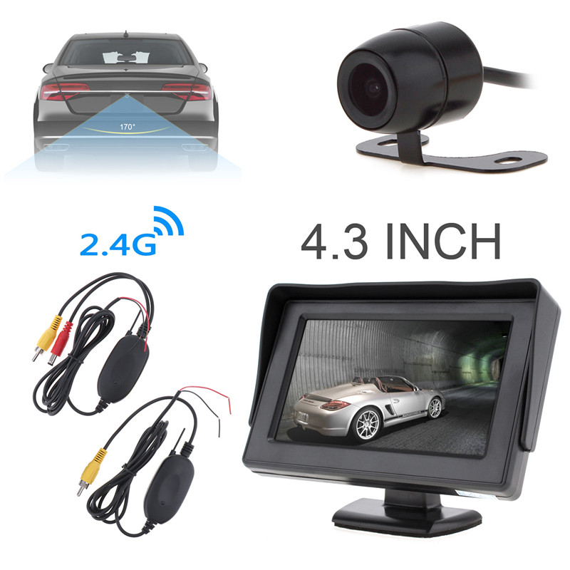 4.3 HD 480 x 234 Resolution 2-Channel Video Input TFT-LCD Car Monitor with 2.4G Wireless Video Transmitter Receiver Camera