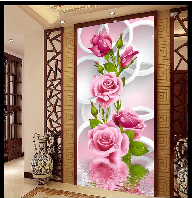 Custom Photo 3d Wallpaper Non Woven Mural Picture Modern Floral Round Rose Porch Corridor Decoration Room In Wallpapers From Home