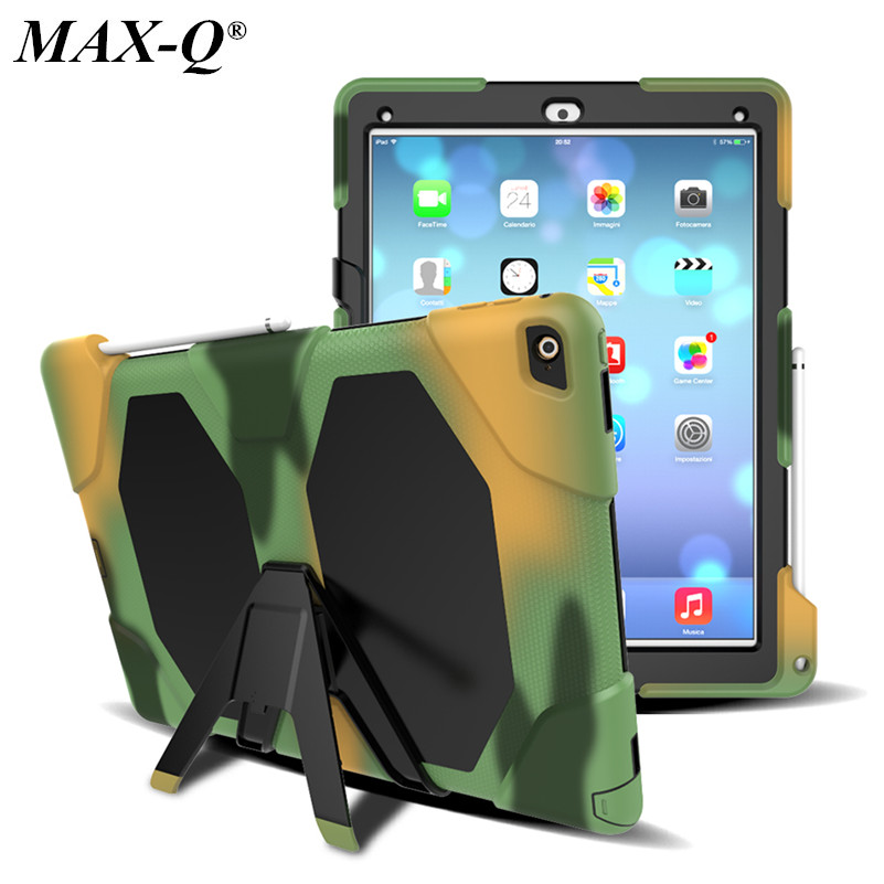 For Apple iPad Pro 12.9 Case Cover MAX-Q Durable 3 Layers Silicone+PC Hybrid Rugged Stand Shockproof Repellent Cover 12Color