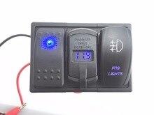 Blue Led Rocker Switch Panel DC 12-24V Dual USB Car Charger with Voltmeter Fog light