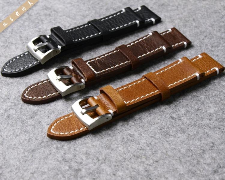 eb36cc9b1d45 Correa de reloj de cuero genuino para Longines/Mido/Tissot/Seiko 18mm 19mm  20mm 21mm 22mm 23mm amarillo marrón negro correa de reloj