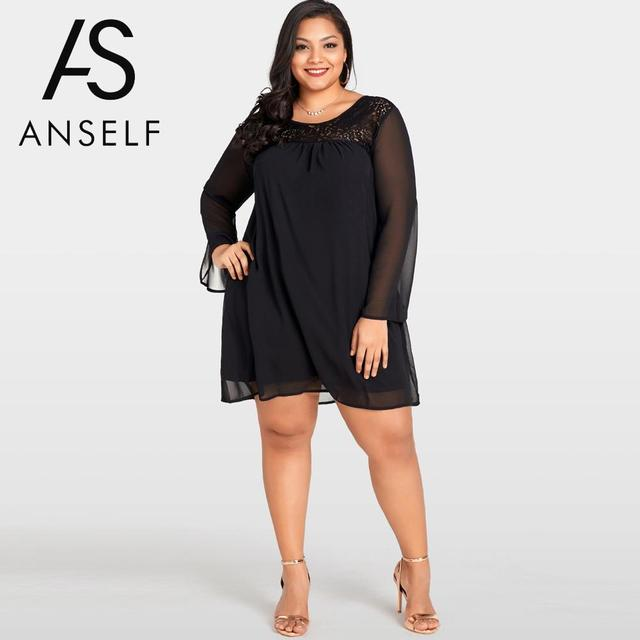 US $14.81 37% OFF|3XL Plus Size Women Lace Chiffon Dress Sheer Sleeve Night  Clubwear female Casual Loose Large Size Mini Party Dresses Gowns Black-in  ...